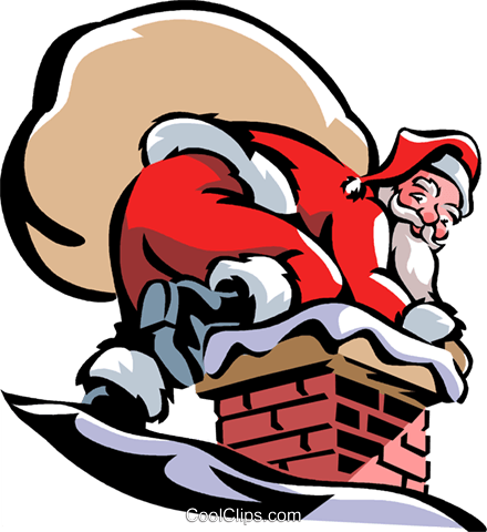 Santa going down the chimney Royalty Free Vector Clip Art illustration vc061396