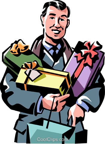 man with Christmas presents Royalty Free Vector Clip Art illustration vc061397