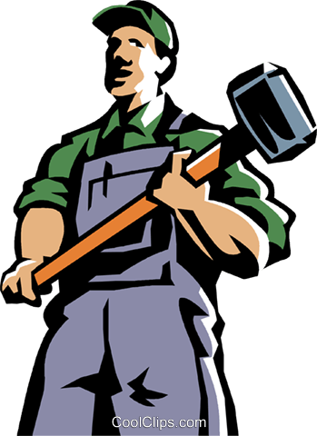 man standing with a sledgehammer Royalty Free Vector Clip Art illustration vc061398