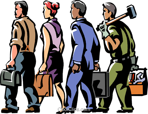 business and trade people walking Royalty Free Vector Clip Art illustration vc061399