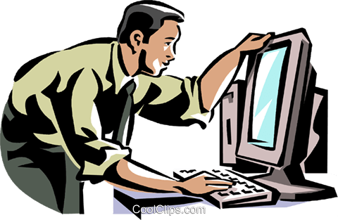 businessman working at a computer Royalty Free Vector Clip Art illustration vc061400
