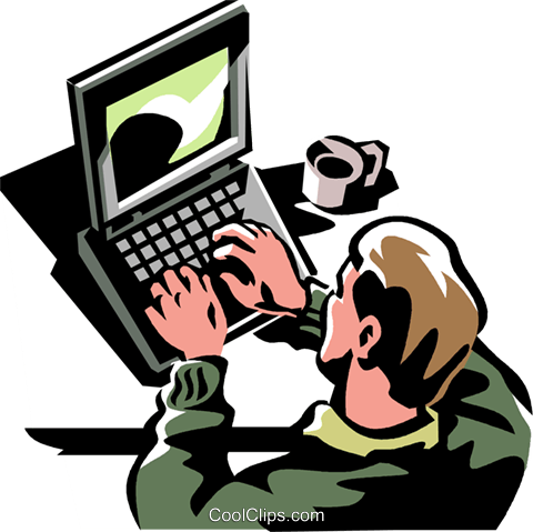 man working at a laptop computer Royalty Free Vector Clip Art illustration vc061402