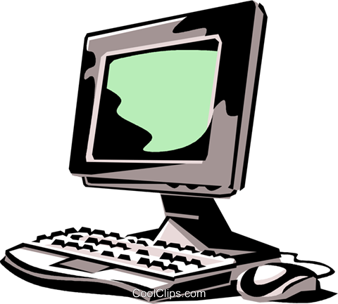 desktop computer system Royalty Free Vector Clip Art illustration vc061403