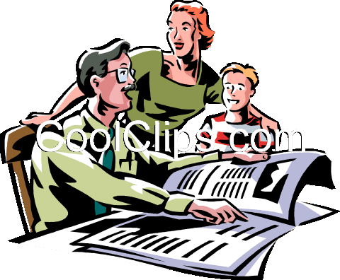 man reading the morning newspaper Royalty Free Vector Clip Art illustration vc061405