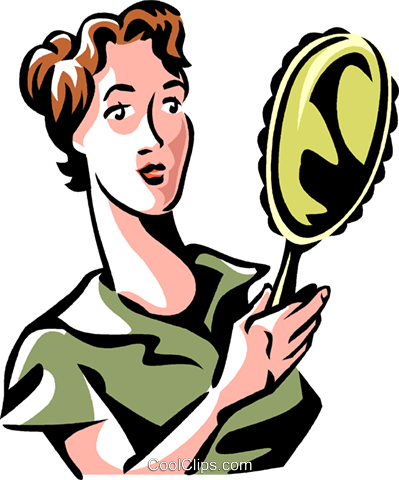 woman looking in a mirror Royalty Free Vector Clip Art illustration vc061407