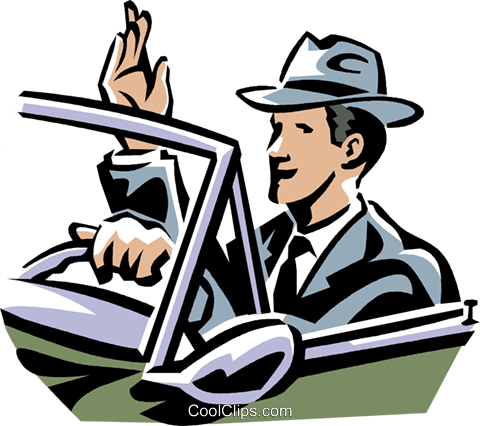 Businessman driving a car Royalty Free Vector Clip Art illustration vc061409