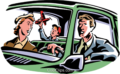 Family going for a drive Royalty Free Vector Clip Art illustration vc061411