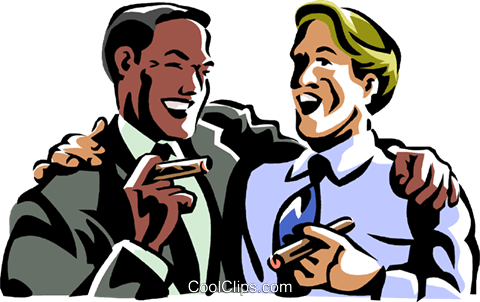 men laughing while smoking a cigar Royalty Free Vector Clip Art illustration vc061413