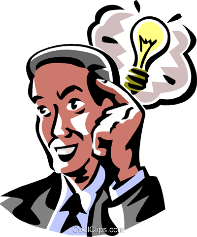 Businessman with a light bulb Royalty Free Vector Clip Art illustration vc061414