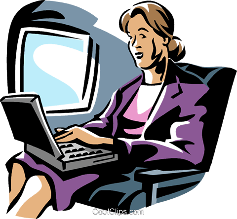 woman working on a laptop computer Royalty Free Vector Clip Art illustration vc061415