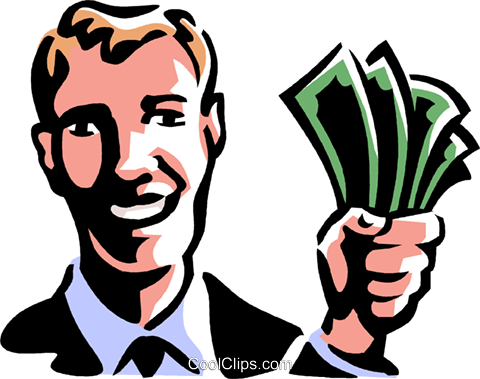 man with a hand full of money Royalty Free Vector Clip Art illustration vc061417
