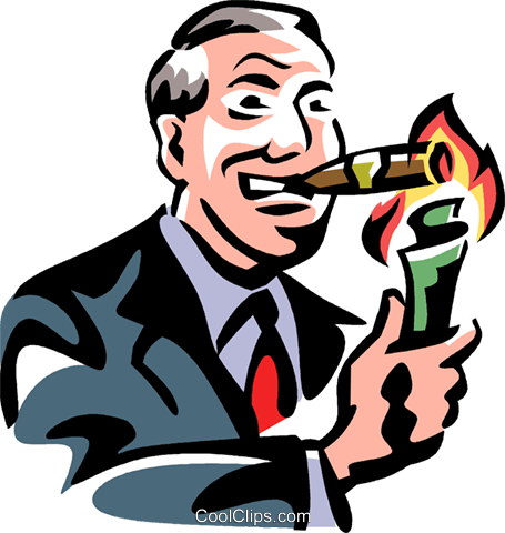 man lighting a cigar with money Royalty Free Vector Clip Art illustration vc061419