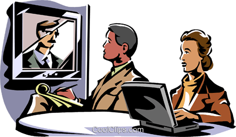 business meeting/video conference Royalty Free Vector Clip Art illustration vc061420