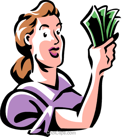 woman with a handful of money Royalty Free Vector Clip Art illustration vc061423