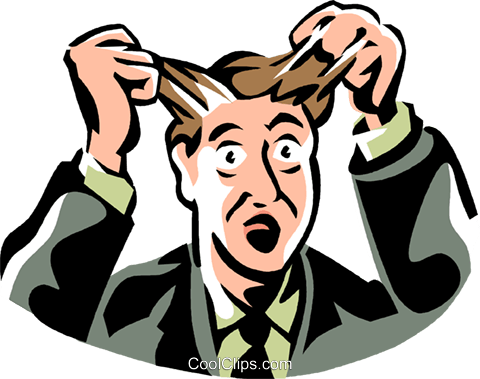 frustrated man pulling out his hair Royalty Free Vector Clip Art illustration vc061425