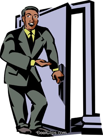 businessman opening a door Royalty Free Vector Clip Art illustration vc061426