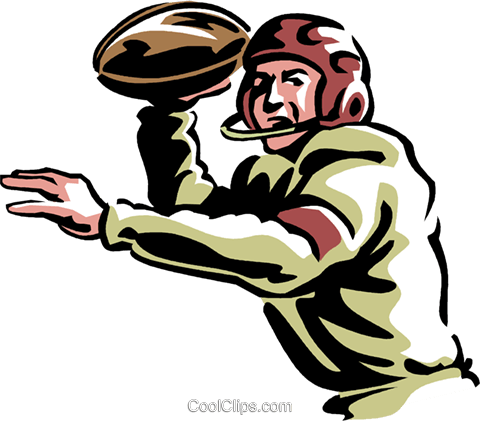 Football quarterback Royalty Free Vector Clip Art illustration vc061427