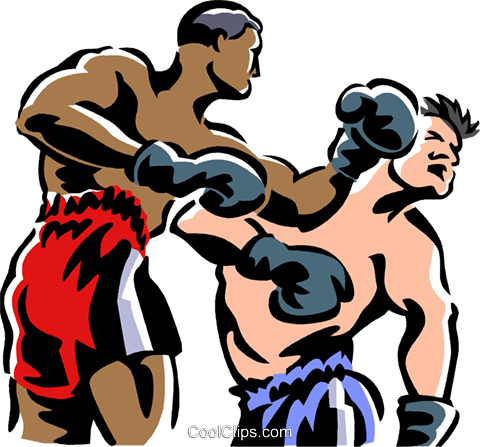 Boxers fighting Royalty Free Vector Clip Art illustration vc061435