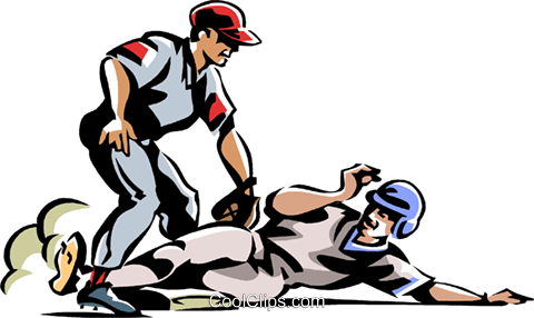 Baseball player sliding into base Royalty Free Vector Clip Art illustration vc061441