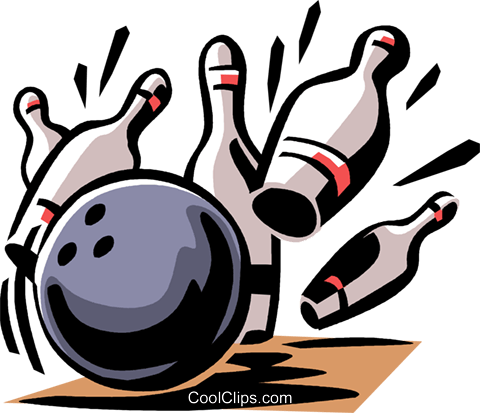 Bowling ball and pins Royalty Free Vector Clip Art illustration vc061446