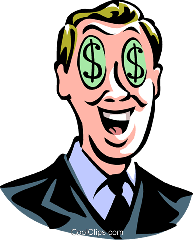 man with dollar sign eyes Royalty Free Vector Clip Art illustration vc061447