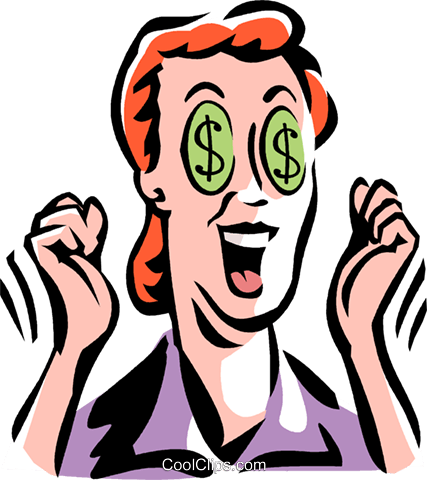 woman with dollar sign eyes Royalty Free Vector Clip Art illustration vc061448