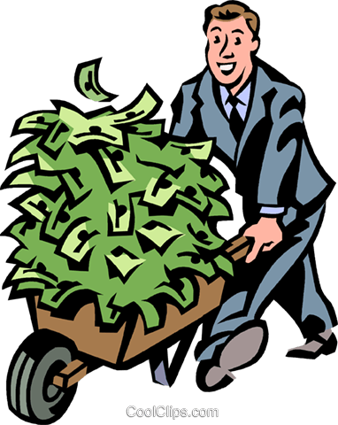 man with a wheelbarrow full of money Royalty Free Vector Clip Art illustration vc061452