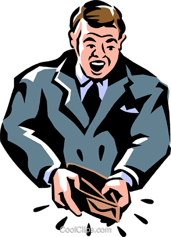 man with an empty wallet Royalty Free Vector Clip Art illustration vc061454