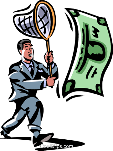 businessman chasing money with a net Royalty Free Vector Clip Art illustration vc061455