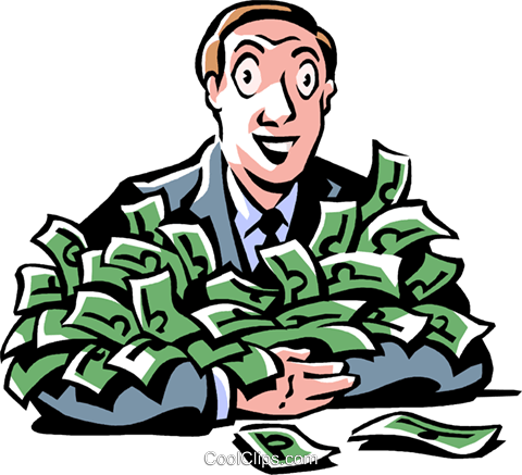 man with loads of money Royalty Free Vector Clip Art illustration vc061461