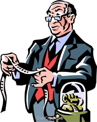 businessman looking at the stock ticker Royalty Free Vector Clip Art illustration vc061462
