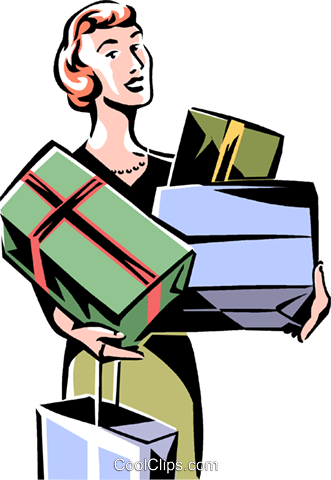woman shopping, woman with many boxes Royalty Free Vector Clip Art illustration vc061464