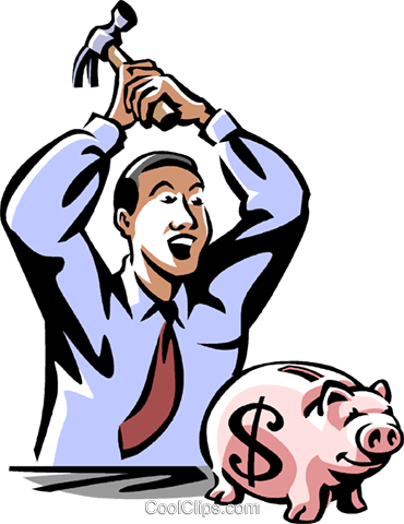 man opening his piggy bank Royalty Free Vector Clip Art illustration vc061466