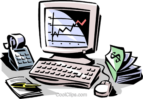 calculator, money book and computer Royalty Free Vector Clip Art illustration vc061468