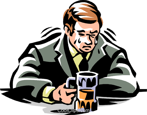 man crying in his beer Royalty Free Vector Clip Art illustration vc061471