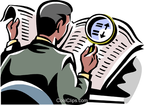 man looking at newspaper Royalty Free Vector Clip Art illustration vc061473