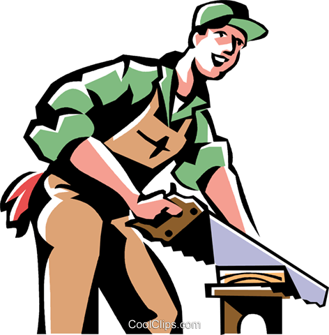carpenter cutting wood Royalty Free Vector Clip Art illustration vc061479