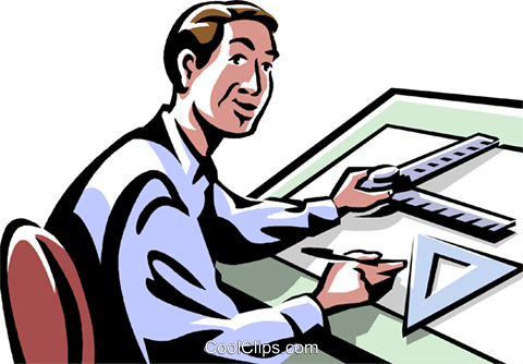 person working at a drafting table Royalty Free Vector Clip Art illustration vc061480