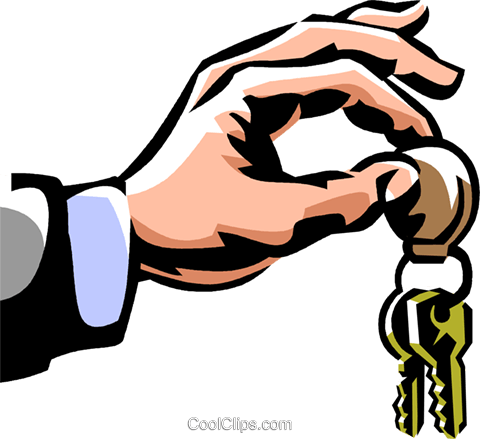 man holding a set of keys Royalty Free Vector Clip Art illustration vc061481