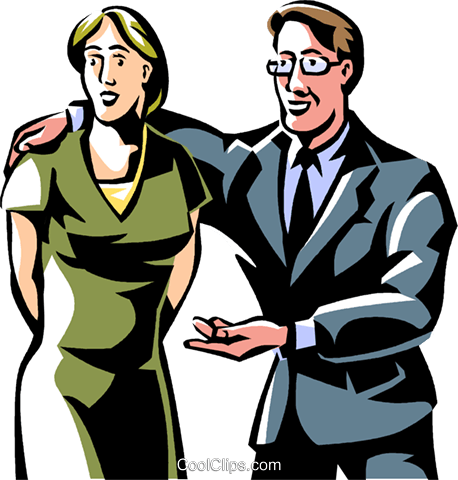 businessman with his arm around a woman Royalty Free Vector Clip Art illustration vc061482