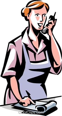 woman on the phone taking an order Royalty Free Vector Clip Art illustration vc061489