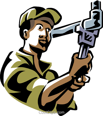 plumber working on a pipe Royalty Free Vector Clip Art illustration vc061490