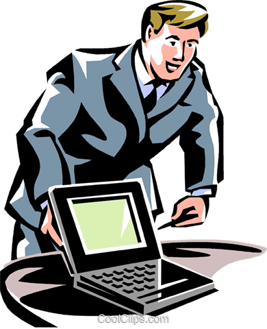man pointing to a laptop Royalty Free Vector Clip Art illustration vc061492