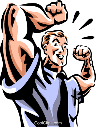 man flexing his muscles Royalty Free Vector Clip Art illustration vc061493