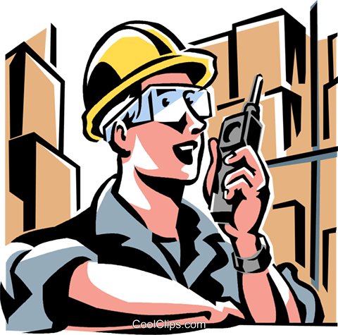 worker talking on a walkie-talkie Royalty Free Vector Clip Art illustration vc061494