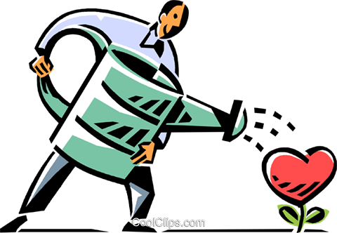 man watering a heart with a watering can Royalty Free Vector Clip Art illustration vc061497