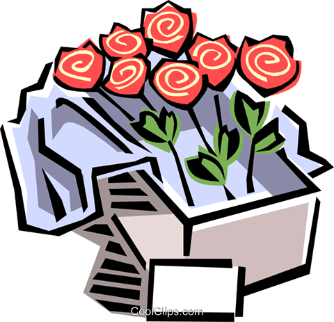 box of roses Royalty Free Vector Clip Art illustration vc061499