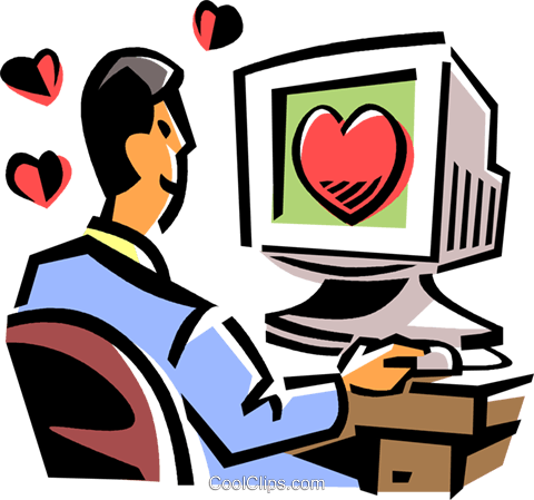 man looking for romance on the internet Royalty Free Vector Clip Art illustration vc061501