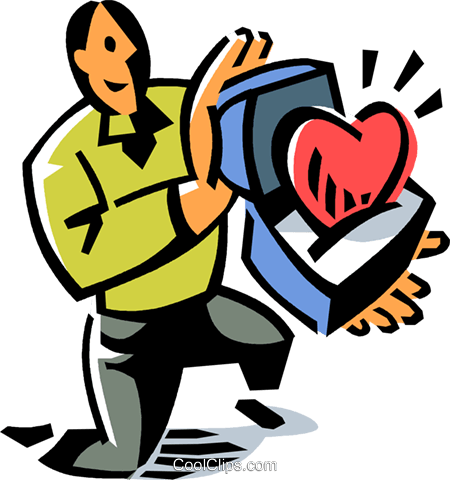 man with a heart in a box Royalty Free Vector Clip Art illustration vc061504