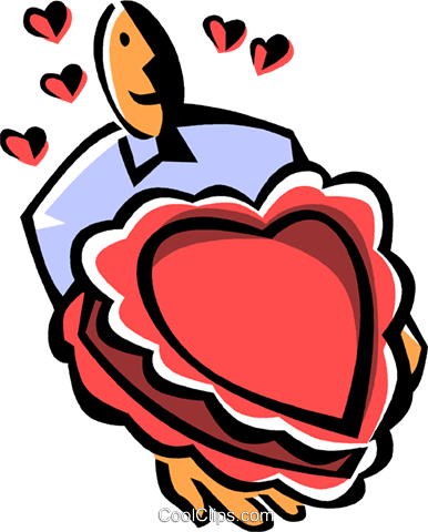 heart shaped box of chocolates Royalty Free Vector Clip Art illustration vc061505